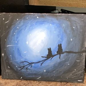 Other - midnight cat canvas painting
